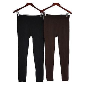 Rhonda Shear Damen Leggings XL/1X Reg/Plus 2er Pack Black 679977