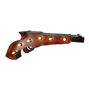 点燃的手枪形状复古金属墙悬挂