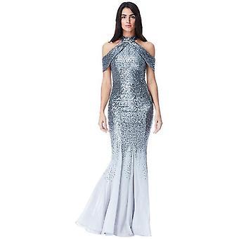 Goddiva Cut Out Sequin And Chiffon Maxi Dress - Silver