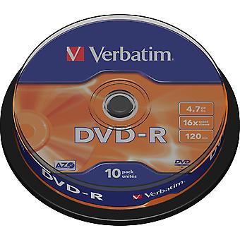 Szó szerinti DVD-R, 16x, 4,7GB/120 perc, 10 csomagos orsó, AZO