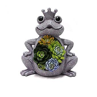 Solar Frog Statue With Succulent Resin Crafts Outdoor Landscape Decoration For