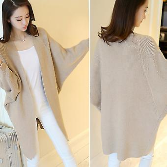 Autumn Women Loose Bat Sleeves Cardigan Solid Knee Length Long Knitted Coat