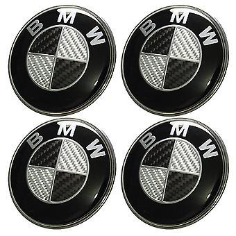 4pcs Bmw Logo 68mm Wheel Center Hub Cover Rim Fibre de Carbone Noir Gris Badge 36136783536