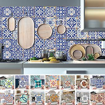 24pcs Floral Mosaic Tile Stickers Self Adhesive Home Wall Decor Murals