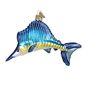 Old World Christmas Fishermans Trophy Fish Sailfish Glass Holiday Ornament