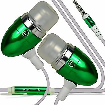 """i-Tronixs - ZTE Blade A462 (5"""") Aluminium Earphone In-Ear Stereo Headset with Built-in Microphone Mic & On-Off Button - Green"""