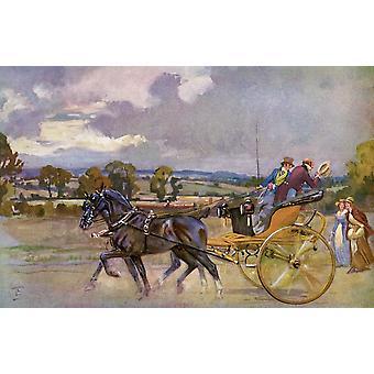 Regency taalaa niiden tiellä kohti Brighton Englannin päässä Illustrated London Uutiset joulu numero 1933 Juliste Tulosta Hilary Jane Morgan Design kuvia Curricle
