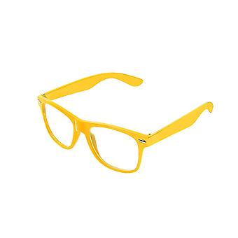Retro Vintage Colour Unisex Punk Geek Wayfare Style Zero Number Clear Lens Glasses Eyewear - Yellow