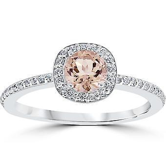 7 / 8ct rund Morganite & Diamond kudde Halo förlovningsring 14K vitguld