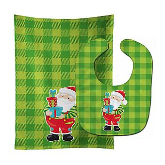 Carolines Treasures  BB9019STBU Christmas Santa Claus #3 Baby Bib & Burp Cloth