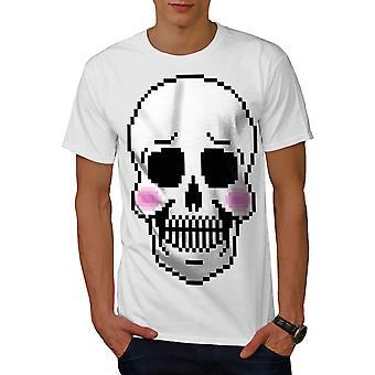 Blush Cute Skeleton Skull Men WhiteT-shirt | Wellcoda