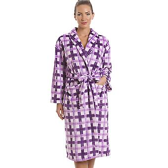 Camille Purple Checkered Supersoft Bathrobe