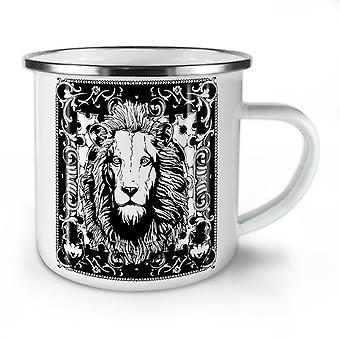 ライオンの穏やかな顔の動物新しい WhiteTea コーヒー エナメル Mug10 オンス |Wellcoda