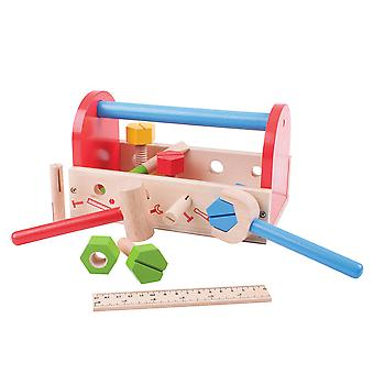 Bigjigs Toys Children's My First Wooden Tool Box with Tools Construction Build