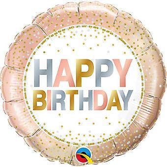Qualatex 18in Happy Birthday Metallic Dots Round Foil Balloon