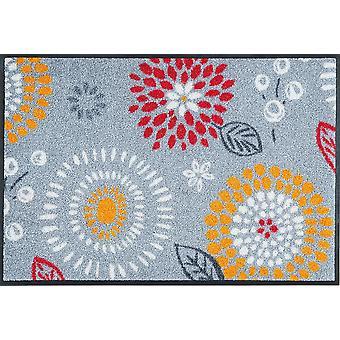 lavage + sec tapis paillasson gris lavable fleur Mille Fiori