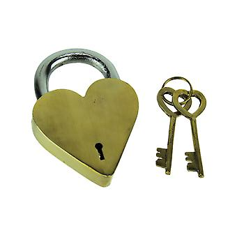 Gold Metal Decorative Heart Lock with 2 Antique Keys