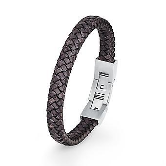 s.Oliver joia mens de couro pulseira de aço inoxidável 2018719