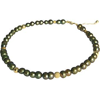 GEMSHINE Halskette Barock Zuchtperlen Evergreen in 925 Silber oder vergoldet