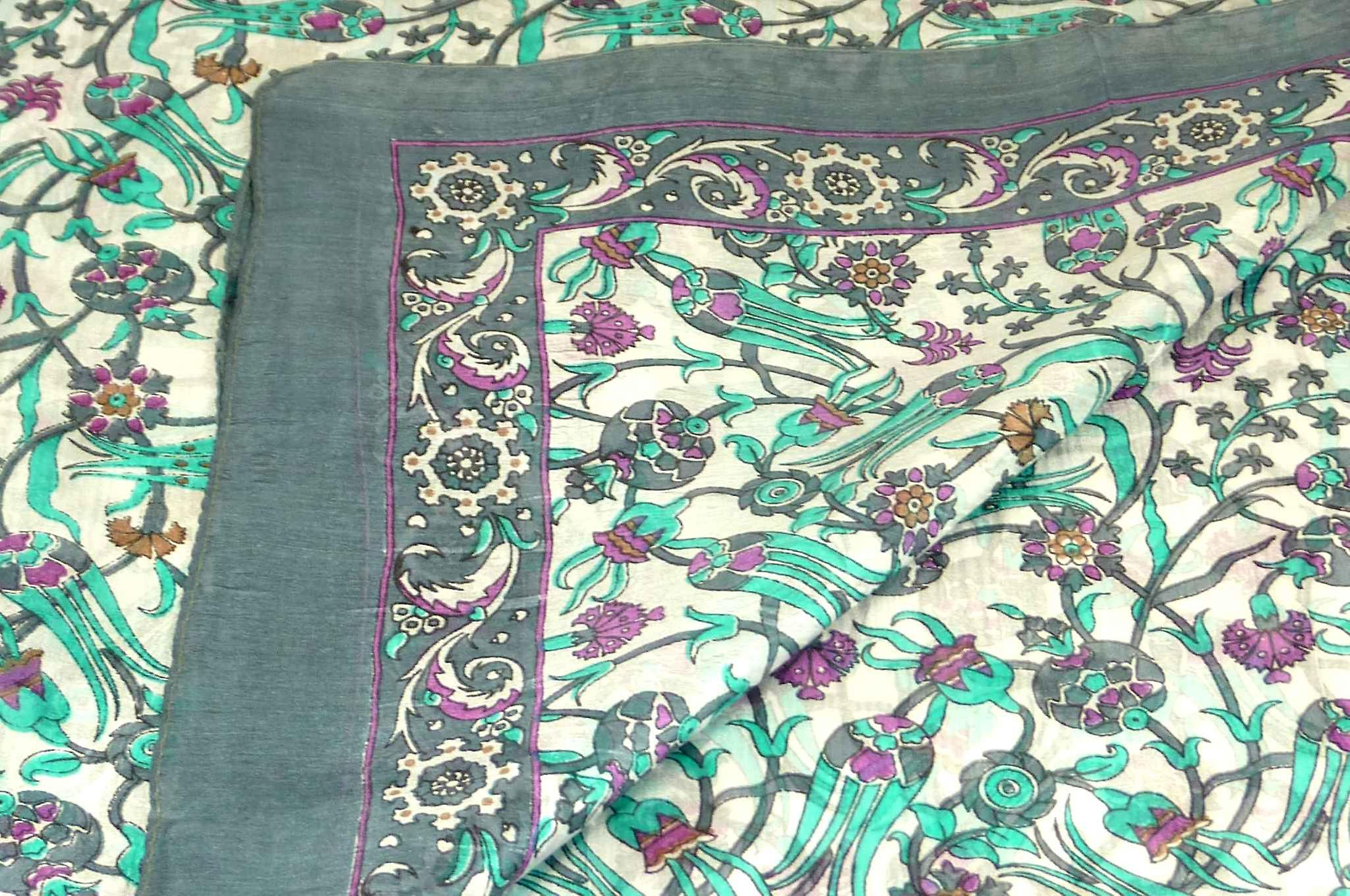 Mulberry Silk Contemporary Long Scarf Mantri Charcoal by Pashmina & Silk