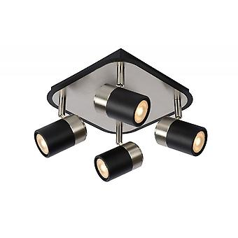 Lucide Lennert Modern  Metal Black And Satin Chrome Ceiling Spot Light