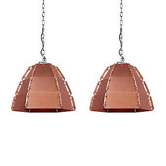 QAZQA Satz 2 Anhänger-Lampe-Niro-Kupfer