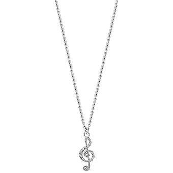 Bella цирконий набор скрипичный ключ кулон - серебро