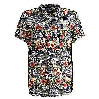 GUESS Black Hawaian Floral Mix Short Sleeve Shirt
