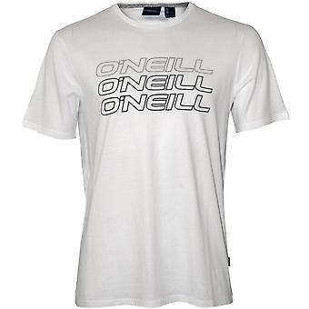 O ' Neill Logo Triple Crew-Neck T-Shirt, Super blanc