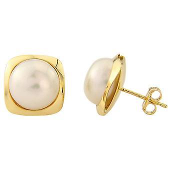 Mark Milton Pearl Square Stud Earrings - Yellow Gold