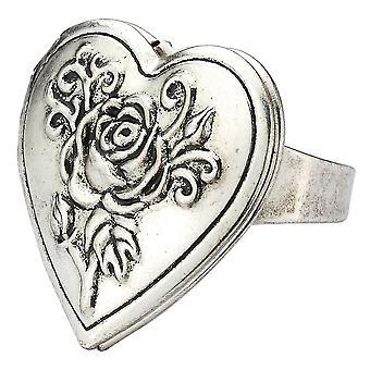 Heart Shaped Tin Alloy Rose Locket Adjustable Ring
