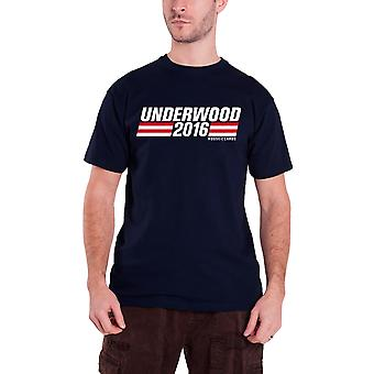 House Of Cards T Shirt Underwood Campaign Logo Official Mens New Navy Blue