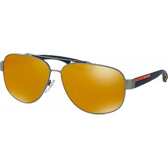 Prada SPS58Q wide Rubber Gunmetal Brown Orange 24 k Iridium