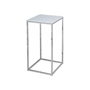Gillmore White Glass And Silver Metal Contemporary Square Lamp Table