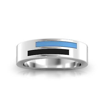 Johns Hopkins University Sterling Silver Asymmetric Enamel Ring In Blue and Black
