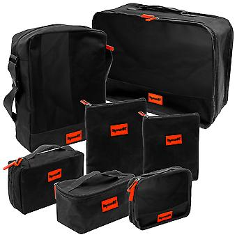 SHANY 7 in 1 Travel Cosmetics Makeup Organizer Packing Bag set - Black