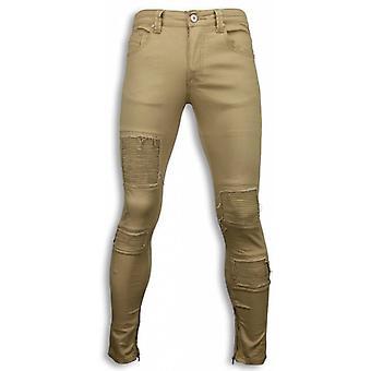 Biker Jeans - Slim Fit Biker Jeans - Beige