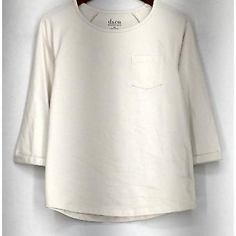 Denim & Co. Essentials Jersey stricken 3/4 Ärmel Top weiß A267840