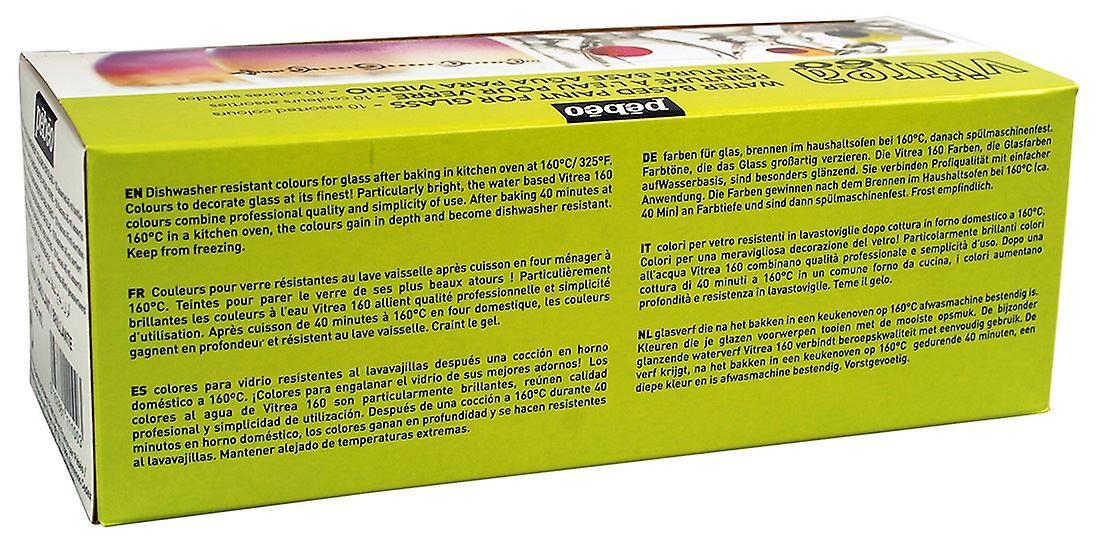 Pebeo Vitrea 160 Glass Paint Assorted Colours Box Set 10 x 45ml