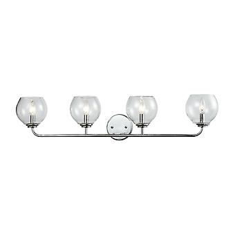 Emory 4-light vanity lamp in polished chrome with clear blown glass elk lighting
