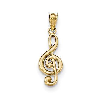 14 k gult guld polerad musik Obs hänge