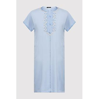 Gandoura hamza boy's hooded collarless embroidered robe thobe in sky (2-12yrs)