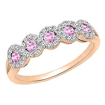 Dazzlingrock Collection 10K Round White Diamond & Pink Sapphire Wedding Stackable Band, Rose Gold