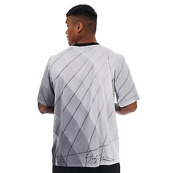 Mens Y-3 All Over Print Football Shirt In Light Grey