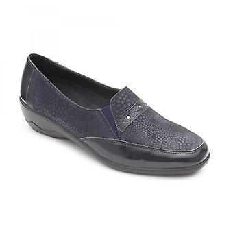Padders Opal Ladies Leather Wide (e/2e) Shoes Navy