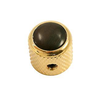 Q Parts Mini - Dome Knob - Hardwood Cap - Ebony / Gold Base