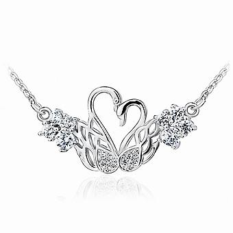 Affici Sterling Silver Necklace 18ct White Gold Plated Two Swans Heart Diamond CZ Gems