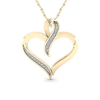 IGI Certified 10K Yellow Gold 0.05ct Natural TDW Diamond Heart shape Pendant