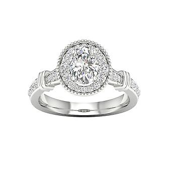 De couer 3/4ct tdw oval diamond 14k white gold halo engagement ring (i-j, i2)