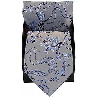 David Van Hagen Floral Pattern Silk Tie and Hanky Set - Silver